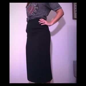 Vintage hunter green long skirt with slit